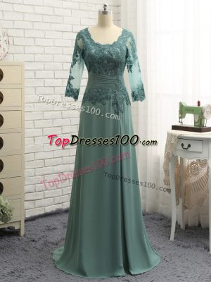 Most Popular Green Long Sleeves Beading and Lace and Appliques Floor Length Mother of Bride Dresses