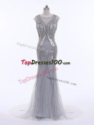 Luxury Grey Scoop Zipper Beading Evening Gowns Brush Train Cap Sleeves