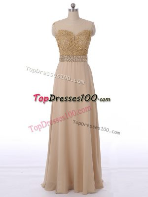 Floor Length Champagne Quinceanera Court of Honor Dress Chiffon Sleeveless Beading