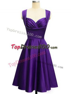 Eye-catching Purple Taffeta Lace Up Straps Sleeveless Knee Length Dama Dress for Quinceanera Ruching