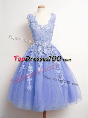 Latest Knee Length Lavender Quinceanera Court Dresses Tulle Sleeveless Lace