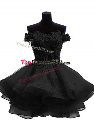 Perfect Black Sleeveless Mini Length Beading and Lace and Appliques and Ruffles Zipper Prom Evening Gown
