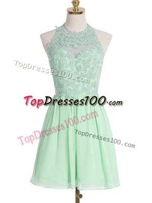 Apple Green Sleeveless Knee Length Appliques Lace Up Damas Dress