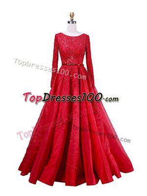 Fashionable Scoop Long Sleeves Taffeta Prom Dress Beading and Lace Brush Train Zipper
