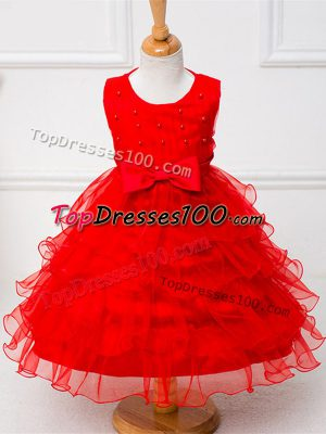 Tea Length Red Flower Girl Dresses for Less Organza Sleeveless Ruffled Layers and Bowknot