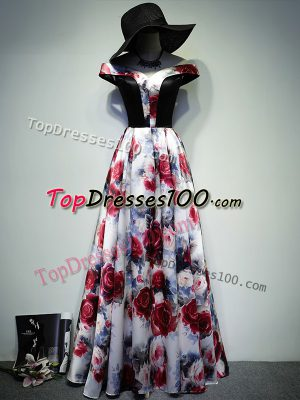 Printed Sleeveless Floor Length Prom Dresses and Ruching
