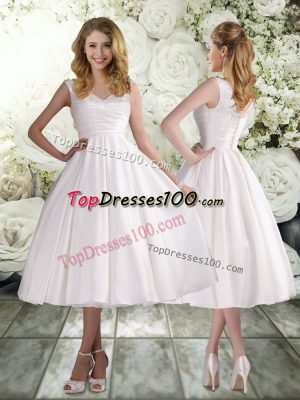 Nice Tea Length A-line Sleeveless White Wedding Dresses Lace Up
