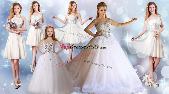 Half Sleeves Tulle Floor Length Lace Up 15 Quinceanera Dress in White with Beading