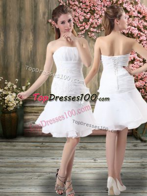 Custom Design Chiffon Sleeveless Knee Length Wedding Dresses and Hand Made Flower