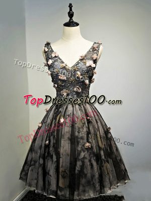 Comfortable Sleeveless Lace Up Mini Length Hand Made Flower Evening Dress