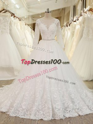 Hot Sale White Long Sleeves Tulle Chapel Train Zipper Bridal Gown for Beach and Wedding Party