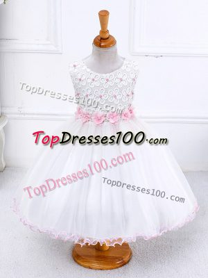 Charming White Little Girl Pageant Dress Wedding Party with Appliques Scoop Sleeveless Zipper