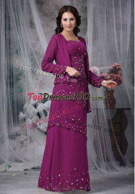 Fashionable Chiffon Sleeveless Floor Length Mother of the Bride Dress and Beading