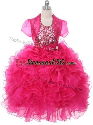 Best Organza Sleeveless Floor Length Little Girl Pageant Gowns and Ruffles and Sequins and Bowknot