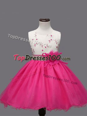 Ball Gowns Little Girls Pageant Dress Hot Pink Scoop Organza Sleeveless Knee Length Zipper
