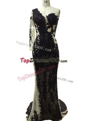 Black Tulle Side Zipper One Shoulder Long Sleeves Floor Length Homecoming Dress Beading and Appliques