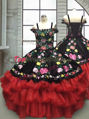 Hot Selling Floor Length Ball Gowns Sleeveless Red And Black Girls Pageant Dresses Lace Up