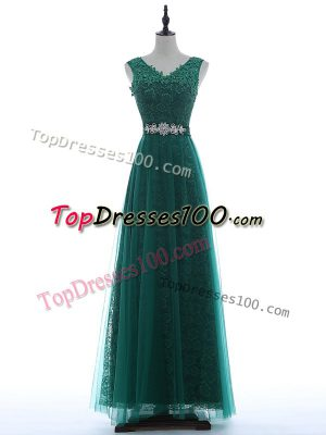 Sleeveless Beading and Appliques Zipper Prom Dress