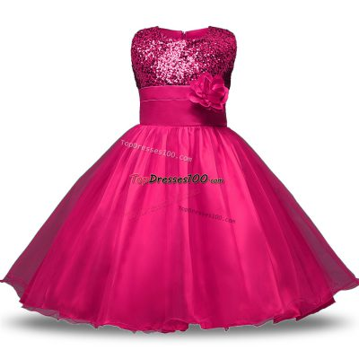 Beautiful Knee Length Zipper Toddler Flower Girl Dress Hot Pink for Military Ball and Sweet 16 and Quinceanera with Belt and Hand Made Flower