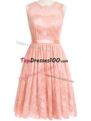 Great Peach Zipper Scoop Lace Quinceanera Dama Dress Lace Sleeveless