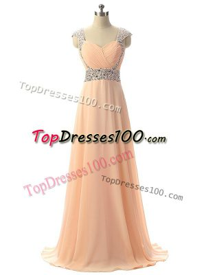 Floor Length Lace Up Evening Party Dresses Peach for Prom and Military Ball and Sweet 16 and Beach with Beading