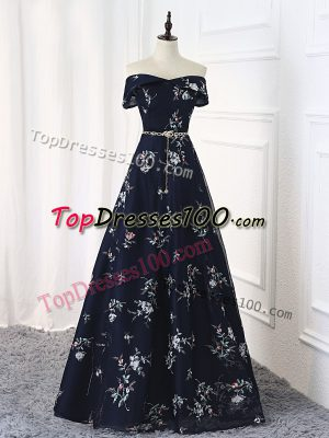 Customized Sleeveless Lace Up Floor Length Beading and Belt Dress for Prom