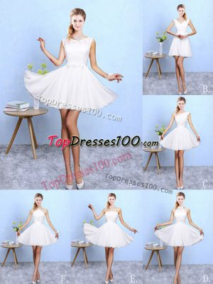 Chiffon Sleeveless Knee Length Quinceanera Court Dresses and Lace and Appliques