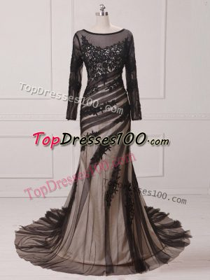 Scoop Long Sleeves Chiffon and Tulle Mother of Bride Dresses Lace and Appliques Brush Train Zipper