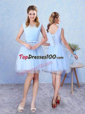 Lovely Knee Length Lace Up Damas Dress Aqua Blue for Prom and Party with Ruching