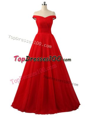 Decent Floor Length Red Womens Evening Dresses Tulle Sleeveless Ruching