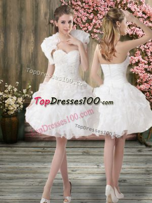 High Class Organza Sleeveless Knee Length Wedding Dresses and Beading and Embroidery
