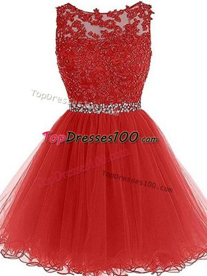 Fashionable Sleeveless Zipper Mini Length Beading and Lace and Appliques Homecoming Dress
