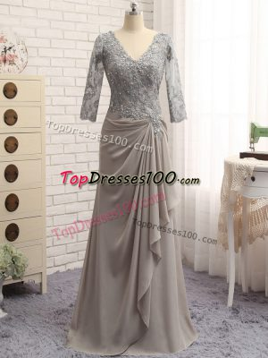 Most Popular Long Sleeves Zipper Floor Length Lace and Appliques Mother Dresses