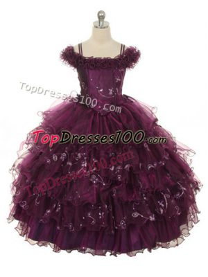 Floor Length Burgundy Girls Pageant Dresses Organza Sleeveless Ruffles and Ruffled Layers