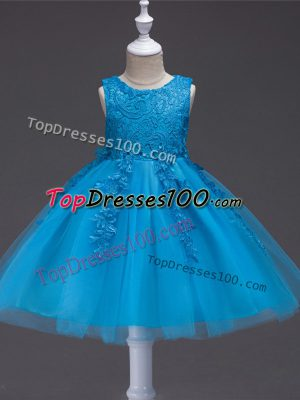 Teal Sleeveless Appliques Knee Length Child Pageant Dress
