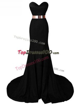 Unique Sleeveless Chiffon Brush Train Lace Up Evening Dresses in Black with Belt
