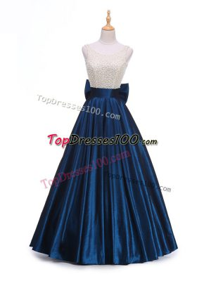 Unique Navy Blue Backless Scoop Beading and Bowknot Womens Evening Dresses Taffeta Sleeveless