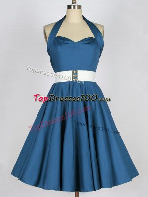 Fantastic Teal Sleeveless Taffeta Lace Up Dama Dress for Prom and Party and Wedding Party