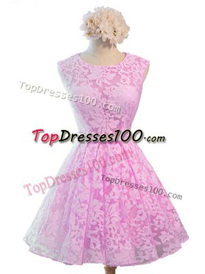 Elegant Lilac A-line Lace Scoop Sleeveless Belt Knee Length Lace Up Court Dresses for Sweet 16
