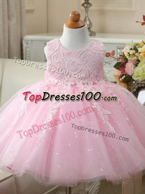 Low Price Baby Pink Sleeveless Appliques and Bowknot Knee Length Flower Girl Dresses for Less