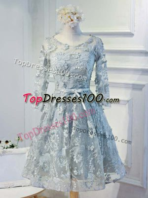 Grey A-line Organza Scoop Long Sleeves Lace and Appliques and Belt Knee Length Lace Up Prom Evening Gown