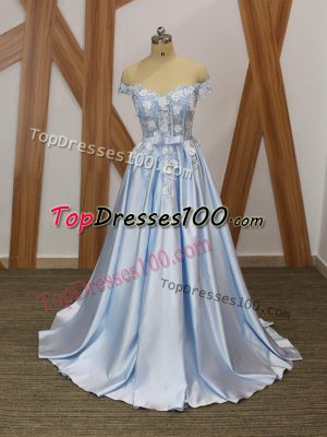 A-line Going Out Dresses Light Blue Off The Shoulder Elastic Woven Satin Sleeveless Floor Length Lace Up