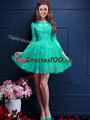 Custom Fit Turquoise Court Dresses for Sweet 16 Prom and Party with Beading and Lace and Appliques Scalloped 3 4 Length Sleeve Lace Up