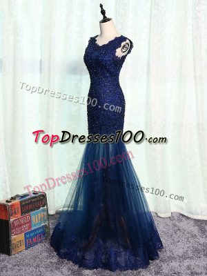 Eye-catching Navy Blue Mother of the Bride Dress Prom and Military Ball and Sweet 16 with Beading and Lace and Appliques Scoop Sleeveless Zipper