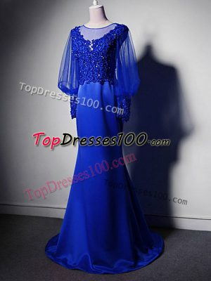 Gorgeous Royal Blue Empire Elastic Woven Satin Scoop Long Sleeves Beading and Lace and Appliques Clasp Handle Mother of Bride Dresses Brush Train