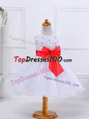 New Style White Ball Gowns Scoop Sleeveless Organza Knee Length Zipper Bowknot Little Girls Pageant Dress Wholesale