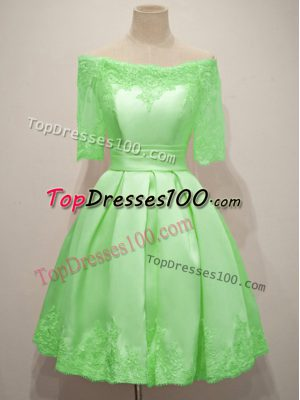 Vestidos de Damas Prom and Party and Wedding Party with Lace Off The Shoulder Half Sleeves Lace Up