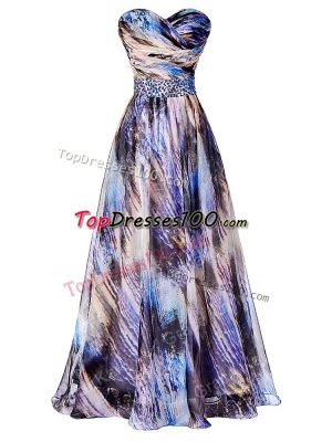 Beading and Ruching Dress for Prom Multi-color Side Zipper Sleeveless