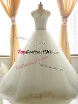 Cute White V-neck Neckline Beading and Appliques Wedding Dress Sleeveless Zipper