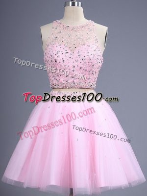 Delicate Pink Two Pieces Tulle Scoop Sleeveless Beading and Lace Knee Length Zipper Vestidos de Damas